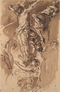 Eugène Delacroix Christ on the Cross, ca. Pen and brown ink, brown wash, on paper Fine Art Drawing, Figure Drawing, Painting & Drawing, Catholic Art, Religious Art, Ink Pen Drawings, Drawing Sketches, Delacroix Paintings, Romanticism Artists