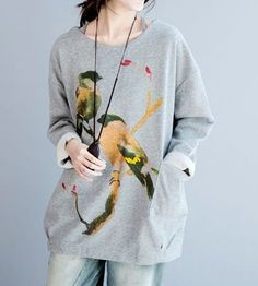 One Size Trees Birds Sweater