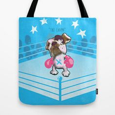 """""""The Champ"""" (a raging bull-dog) Tote Bag by Haus Of Lelu"""
