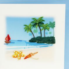 Quilled greeting card of beach scene