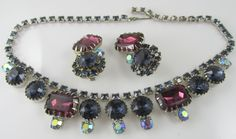 Unsigned Vintage Beauty Blue and Purple Rhinestone Necklace and ER Set