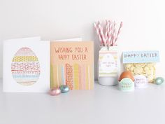 The 'very vibrant' easter printables range includes assorted gift tags, bag labels, egg rings & 2 greeting cards. The perfect way to make your easter 'egg-cellent'!