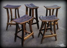 Rustic . . . wine stave bar stools . . . Carllynn by Design, Arnold, California