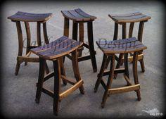 Rustic . . . wine stave bar stools . . . Carllynn by Design, Arnold, California