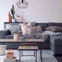 This was the most liked living room pic on my page in 2015 - interested to see if it's still got what it takes? Via @ellosofficial | #copper #rosegold #livingroom #livingroominspo #blush #grey