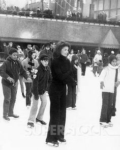 Jackie Kennedy ice skating at Rockefeller Center, 1970