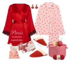 """""""Pink & Red"""" by ragnh-mjos ❤ liked on Polyvore featuring DKNY, La Perla, Les Néréides, Colonial Mills and LovelyLoungewear"""
