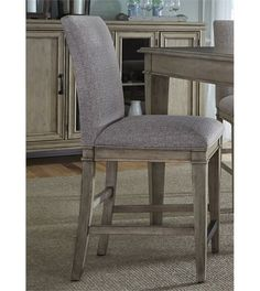 Crafted with wood solids and veneers, this beautiful barstool showcases rustic and transitional design elements. Highlighted by square tapered feet, the stool features an upholstered seat and back for extended comfort and support. Perfect for your unique dining setting, this barstool adds a beautiful accent to your dining setting.