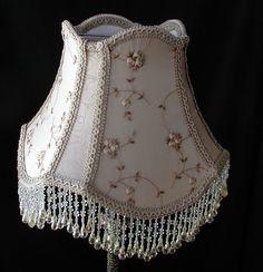Vintage Table Lampshade - Victorian Lamp Shade - Beaded Shade