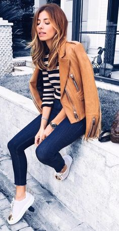 #fall #outfits · Brown Leather Jacket + Striped Top