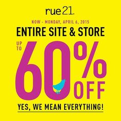 YO PEEPS! This weekend only the ENTIRE STORE IS ON SALE! Get up to 60%! Make sure you come in and earn your DOUBLE RUEBUCKS!! #rue21 #yopeeps #sale #ruebucks #doubleruebucksweekend #shop #dealoftheday #leggings #tanks #maxiskirts #canvasshoes #deals