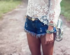 frayed jean shorts and lace top