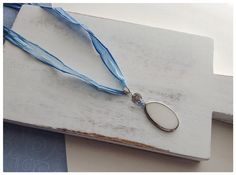 Blue and White Ombre Fiber Cord Pendant Necklace on Etsy, $20.00