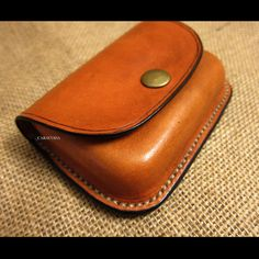Leather coin purse brown wallet wet moulded by CARACODA on Etsy