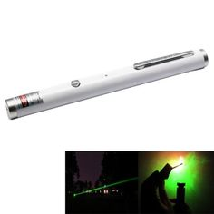4mw+532nm+Green+Beam+Laser+Stage+Pen,+Built-in+Battery+-+White