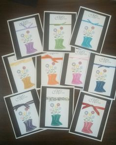 Bunches of Miss You cards, in lots of fun colors, boots are embossed, from Stampin Up's Flower Filled stamp set.