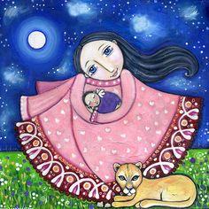 Moeder en Baby met Puma Art Print - kinderkamer Decor - kwekerij Art Print - grillige volkskunst -