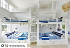 What kid wouldn't LOVE this bedroom? Amazing work by @changoandco as always! #repost #bunkbeds #blueandwhite #kidsdream #dreamcometrue #kidapproved #followfriday