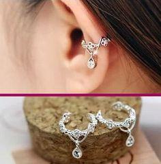 Dangling Flower Crown Rhinestone Ear Cuffs (2 Pcs, No Piercing)