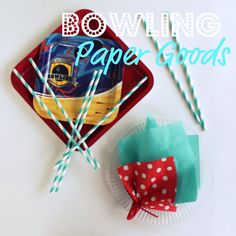 Paper goods were easy for the crowd at the bowling alley Friday night, and round glass plates set a pretty table for breakfast at home Saturday morning. Square plates, aqua napkins and red polka dot napkins, Target; bowling dessert plates, Party City; 10 1/2-inch long, aqua striped straws, The Sugar Diva.