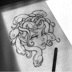 Medusa new school Dark Art Drawings, Pencil Art Drawings, Art Drawings Sketches, Tattoo Sketches, Tattoo Drawings, Cute Drawings, Tattoo Illustrations, Graffiti Drawing, Medusa Art