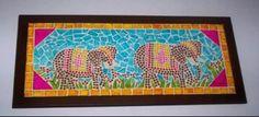Cuadro mosaico elefantes