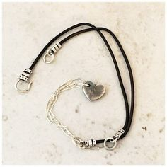 Dainty Sterling and Leather Heart Choker, Trendy Jewelry