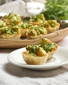 Shrimp Phyllo Cups with Dill Pesto and Feta