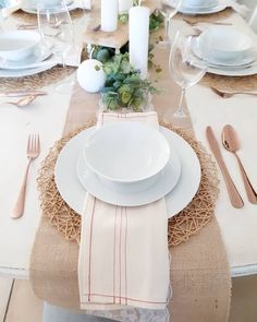 Love these red stripe napkins from @threadsthatbindus too - a twist on a classic. Paired with simple white crockery, burlap runner, faux eucalyptus, white candles and, my absolute favourite, rose gold (or copper) cutlery! ❤ Copper Cutlery, Burlap Runners, White Candles, Happy Wednesday, Counting, Napkins, Table Settings, Tables, Dads