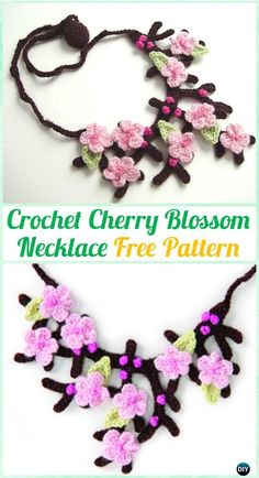 Crochet Cherry Blossom Necklace Free Pattern  - #Crochet; #Jewelry Necklace Free Patterns