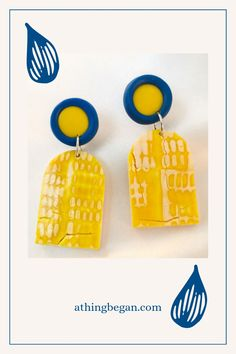 Contemporary yellow white and petrol blue earrings from athingbegan.com Yellow Earrings, Dainty Earrings, Round Earrings, Unique Earrings, Cute Gifts For Her, Perfect Gift For Her, Nickel Free Earrings, Polymer Clay Earrings, Fashion Earrings