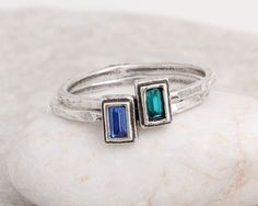 Set of 2 Stackable Birthstone Rings.  Mother's Rings, Grandmother's Rings ~ Design and Create Your Own Stacking Ring!