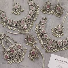 Jewelry OFF! Pakistani Bridal Jewelry, Indian Bridal Jewelry Sets, Bridal Accessories, Silver Bridal Jewellery, Diamond Jewellery, Bridal Necklace Set, Pink Necklace, Stone Necklace, Silver Necklaces