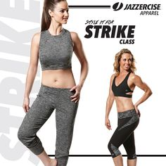 Jab your way through sweaty, heart pumping music mixes in this hot Crop Muscle Tank or kick things up a notch with these new space dye bottoms. http://shop.jazzercise.com/