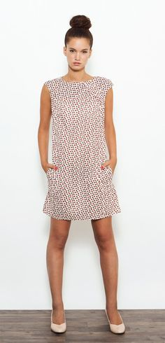 ♥ ♥ ♥ Valentines Day ♥ ♥ ♥ Coupon Code - Valentine2015 // 10% off Beautiful geometric shift dress, made of printed cotton with orange-cream