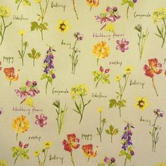 Wild Flowers Luxury Cotton Oilcloth MATT finish (Wipe Clean Tablecloth)