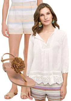 Summertime staple...shorts paired with a crisp white top and sandals.