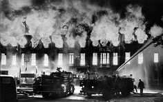 "September 8, 1974: A movie set of fake brownstone structures burns on ""Boston Street"" at the Burbank Studios Ranch. The set was a total loss. The multimillion-dollar fire destroyed three soundstages and four movie sets."