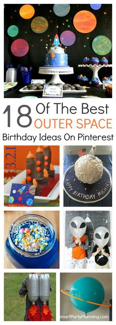 18 awesome ideas for a fun filled outer space birthday party. Easy ideas for space themed decorations, food, games and favors. This theme will be just as much fun to plan as it will be to hold. So start organizing those planets and rocket ships and plan a party for the boys that they will never forget. #Outerspacebirthday #Spaceparty #Fun #Spaceship #Ideas #Easy #DIY #Best