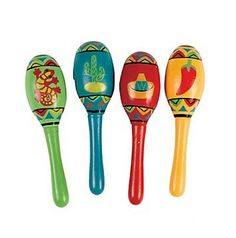 """Private Island Party  - DOZEN Wholoesale  5"""" Cinco De Mayo Real Wooden Fiesta Maracas 1744, $15.75 - $19.99     ump up the volume at your fiesta with these DOZEN 5"""" Cinco De Mayo Wooden Fiesta Maracas. Our unique favors make great prizes for carnival and party games. Shake and shimmy in style to these percussion sounds. Our easy-to-hold and easy-to-decorate wooden maracas are super durable and a great size (5"""") for musicians of all ages. They are painted with Mexico inspired images."""