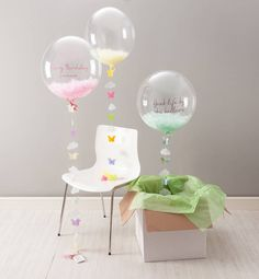 Globos de helio transparentes - Bespoke Butterfly Confetti Filled Balloon.