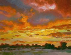 Sunset painting of Cottonwood, Arizona by impressionist artist Kevin McCain. See more at http://mccainart.com