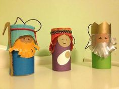 Explore and Express: Christmas Art: Toilet Paper Roll Nativity Figures Wise Poulsen lets make these with the kids! Kids Crafts, Bible Crafts, Christmas Crafts For Kids, Christmas Activities, Kids Christmas, Holiday Crafts, Diy And Crafts, Toilet Roll Craft, Toilet Paper Roll Crafts