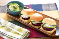 Beet, Goat Cheese & Apple Sliders with Fingerling Potato Salad. Visit https://www.blueapron.com/ to receive the ingredients.