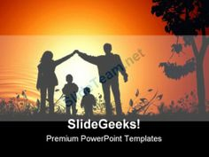 Golden Sunset Family PowerPoint Background And Template 1210 #PowerPoint #Templates #Themes #Background