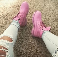 """Timberland: the """"Original Yellow Boot"""" has long been a popular American icon, the classic look has been copied by many, but never really duplicated. Timberland Boots Outfit, Timberland Fashion, Pink Timberlands, Timberland Waterproof Boots, Yellow Boots, Cinderella Shoes, Sneaker Heels, Sneakers, Shoe Company"""