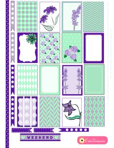 Free Printable Mint and Purple Floral Stickers for Happy Planner
