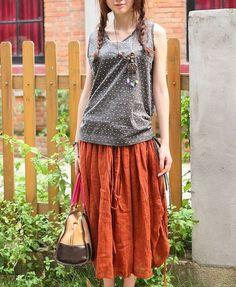 Orange Ramie Ruffle Skirt / Long Drawstring Skirt  - Made to order