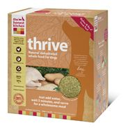 This diet was designed to cater to dogs of all life stages including adults, puppies, pregnancy and nursing. Thrive is ideal for sensitive dogs who need gluten-free dog food but with a little grain, to help maintain a healthy body weight.    Thrive is a very minimalist, nourishing diet which is also recommended for dogs with sensitivities: It contains NO fruits, potatoes or flax. Suitable for all life stages; puppies, pregnancy, lactation, active adult dogs & healthy seniors.