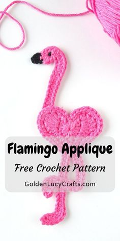 This crochet Flamingo applique is a beautiful project for Valentine's Day. This flamingo is another addition to the series of heart-shaped appliques. Crochet Applique Patterns Free, Easy Crochet Patterns, Crochet Motif, Crochet Hearts, Crochet Appliques, Crochet Ideas, Crochet Flamingo, Crochet Mermaid, Flamingo Pattern